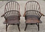 SOLD - Pair of Elm Windsor Style Stickback Armchairs
